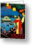Fireworks Painting Greeting Cards - Vichy comite des fetes Greeting Card by Roger Broders