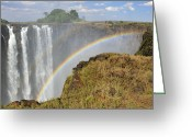 Zambia Photo Greeting Cards - Victoria Falls Greeting Card by Tony Beck