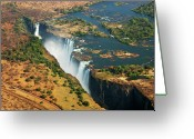 Zambia Photo Greeting Cards - Victoria Falls, Zambia Greeting Card by  Pascal Boegli