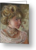 Oil Painting Greeting Cards - Victorian Beauty Greeting Card by Enzie Shahmiri