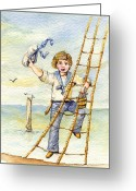 Lad Greeting Cards - Victorian Child Sailor Greeting Card by Iva Wilcox