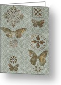 Rug Greeting Cards - Victorian Deco Sage Greeting Card by JQ Licensing