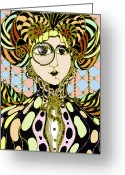 Fashionable Drawings Greeting Cards - Victorian Fashionista 2 Greeting Card by Rae Chichilnitsky
