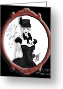 Riding Outfit Greeting Cards - Victorian Gothic Greeting Card by Rosy Hall