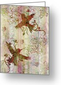 Carpet Painting Greeting Cards - Victorian Humming Bird Pink Greeting Card by JQ Licensing