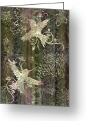 Carpet Painting Greeting Cards - Victorian Hummingbird Green Greeting Card by JQ Licensing