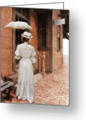 Edwardian Greeting Cards - Victorian Lady at Train Station Greeting Card by Jill Battaglia