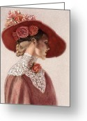 Hat Greeting Cards - Victorian Lady in a Rose Hat Greeting Card by Sue Halstenberg