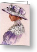 Flowers Pastels Greeting Cards - Victorian Lady in Lavender Lace Greeting Card by Sue Halstenberg