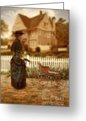 Pram Greeting Cards - Victorian Lady with Baby Buggy Greeting Card by Jill Battaglia