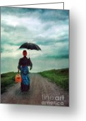 Raining Greeting Cards - Victorian Lady with Umbrella and suitcase Greeting Card by Jill Battaglia