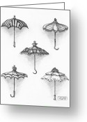 Paper Images Greeting Cards - Victorian Parasols Greeting Card by Adam Zebediah Joseph