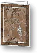 Pheasant Greeting Cards - Victorian Pheasant in Sepia Greeting Card by Carol Groenen