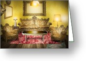 Background Greeting Cards - Victorian Room Greeting Card by Setsiri Silapasuwanchai