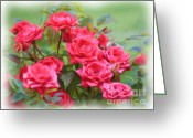 Computer Art And Digital Art Greeting Cards - Victorian Rose Garden - Digital Painting Greeting Card by Carol Groenen