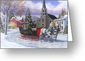 Carriage Team Greeting Cards - Victorian Sleigh Ride Greeting Card by Richard De Wolfe
