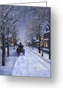 Night Scene Greeting Cards - Victorian Snow Greeting Card by Alecia Underhill