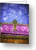 Old Fashion Greeting Cards - Victorian Sofa In Retro Room Greeting Card by Setsiri Silapasuwanchai