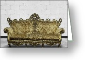Old Fashion Greeting Cards - Victorian Sofa In White Room Greeting Card by Setsiri Silapasuwanchai