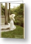 Long Dress Greeting Cards - Victorian Woman in Garden with Parasol Greeting Card by Jill Battaglia