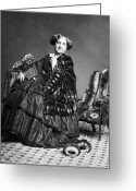Daguerreotype Greeting Cards - VICTORIAN WOMAN WITH FURS c. 1853 Greeting Card by Daniel Hagerman