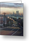Center City Painting Greeting Cards - Victory Boulevard at Dawn Greeting Card by Sarah Yuster