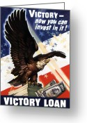 Bald Eagle Digital Art Greeting Cards - Victory Loan Bald Eagle Greeting Card by War Is Hell Store