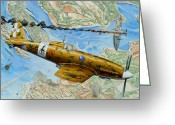Plane Drawings Greeting Cards - Victory over Malta Greeting Card by Charles Taylor