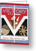 Cry Mixed Media Greeting Cards - Victory Sign Diptych Greeting Card by Steve Ohlsen