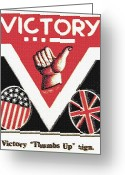 Cry Mixed Media Greeting Cards - Victory Sign Greeting Card by Steve Ohlsen