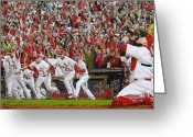 Sport Painting Greeting Cards - VICTORY - St Louis Cardinals win the World Series Title - Friday Oct 28th 2011 Greeting Card by Dan Haraga