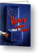 Military Production Greeting Cards - Victory Starts Here Greeting Card by War Is Hell Store