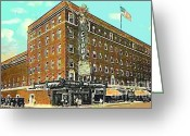 Evansville Greeting Cards - Victory Theatre And Hotel Sonntag In Evansville In 1920 Greeting Card by Dwight Goss