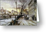 Viennese Greeting Cards - Vienna: Winter Scene, 1888 Greeting Card by Granger
