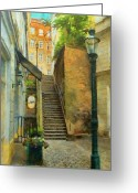 Stairs Greeting Cards - Viennese Side Street Greeting Card by Jeff Kolker