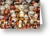 Paint Pyrography Greeting Cards - Vietnam Clay figurine Greeting Card by Panya Jampatong