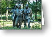 Cities Glass Art Greeting Cards - Vietnam War Memorial Statue Greeting Card by Daniel Hebard