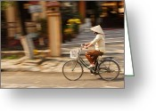 Street Pyrography Greeting Cards - Vietnamese Woman Riding A Bicycle Greeting Card by Panya Jampatong