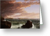 Crashing Waves Greeting Cards - View across Frenchmans Bay from Mt. Desert Island after a squall Greeting Card by Thomas Cole
