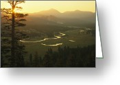River Scenes Greeting Cards - View At Dawn Of The Tuolumne River Greeting Card by Phil Schermeister