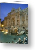 Latium Region Greeting Cards - View At Dusk Of The Trevi Fountain Greeting Card by Richard Nowitz