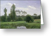 French Landscape Greeting Cards - View at Rouelles Greeting Card by Claude Monet