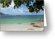 Nautical Vessel Greeting Cards - View From A Beach Of A Speedboat In The Sea Greeting Card by Caspar Benson