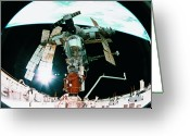 Space.planet Greeting Cards - View From A Wide Angle Lenses Of A Space Station Docking In Orbit Greeting Card by Stockbyte
