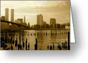 Woolworth Building Greeting Cards - View From Brooklyn Bridge Park Greeting Card by Mark Gilman