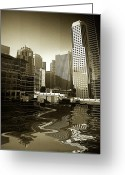 Skyscraper Mixed Media Greeting Cards - View from Howard Greeting Card by Monroe Snook