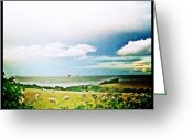 Prestigeclass Greeting Cards - View From My Tent. Sea. Sheep. Fields Greeting Card by Rachel-Avalon Brightside