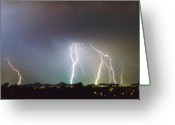 Unusual Lightning Greeting Cards - View from Oaxaca Restaurant  ll Greeting Card by James Bo Insogna