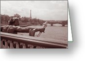 Bridge Prints Greeting Cards - View from Pont Alexandre III 2 Greeting Card by Kathy Yates
