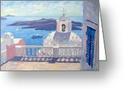 Roelof Rossouw Greeting Cards - View From the Balcony Santorini Greeting Card by Roelof Rossouw